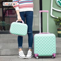18inch Luggage Cabin Suitcase set,Women Child Carry-Ons,Lovely cartoon Trip case,universal wheels trolley,lightweight drag boxes