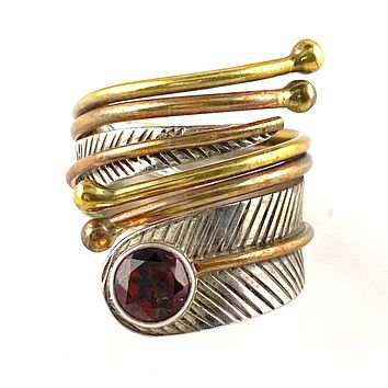 Garnet Sterling Silver Three Tone Adjustable Wrap Ring