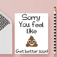 Get well card - Funny get well soon card - Funny get well card - Funny Feel better soon card -  Get well soon card - Feel better soon card
