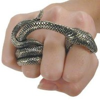 THE SNAKE BITE HUGE PEWTER REPTILE RING by GottaHaveItNow