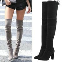 Womens Stretch Suede Over the Knee Boots Sexy Fashion Slim Thigh High Boots Chunky Heels Plus Size Shoes Woman 2016 Black Grey