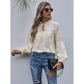Tie Neck Frill Distressed Blouse