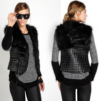 Fashion New Women Faux Fur Leather Vest Outerwear Short Coat Jacket Waistcoat  SV007601