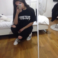 YEEZUS Print Women t shirt Casual Cotton Harajuku Funny Sport Top T-Shirt Summer Style Tees Whtie/Black Plus Size Drop Ship