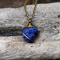 Crystalized Azurite Necklace - Raw Azurite Jewelry - Blue Stone Necklace - Rough Stone Jewelry - Gypsy Necklace - Boho Jewelry Wicca Pendant