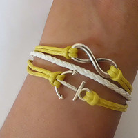 Anchor Bracelet Infinity bracelet Navy wax cord White Braided Leather Antique Sliver Cute Personalized Jewelry Wholesale