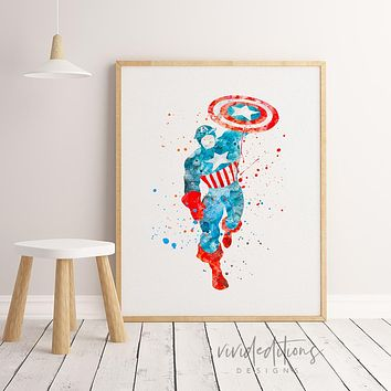 Captain America Watercolor Art Print