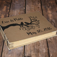Personalized Bird Wedding Guest Book, Tree Journal, Rustic Book , Anniversary Gift, Baby Book, Branch and bird, Coptic bound journal