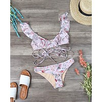 MINKPINK Swim Summer Meadow Frill Wrap Top and Bottom Bikini Separates