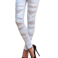 White Bandage Cut-Out Leggings