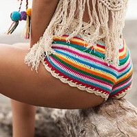 Mixed Colorful Stripe Knitted Crochet Elastic Low Waist Women Shorts
