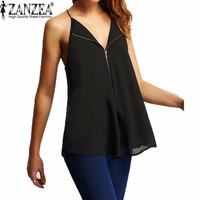 Hot Design 2016 Summer Sexy Women Blusas Casual Loose V-Neck Strapless Sleeveless Chiffon Blouses Solid Backless Tops Plus Size