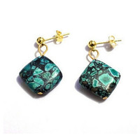 Green mosaic earrings