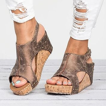Women Platform Sandals Wedges Shoes For Women Heels Summer Shoes Leather Wedge Heels Sandals