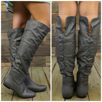 Victory Grey Lace Up Boots