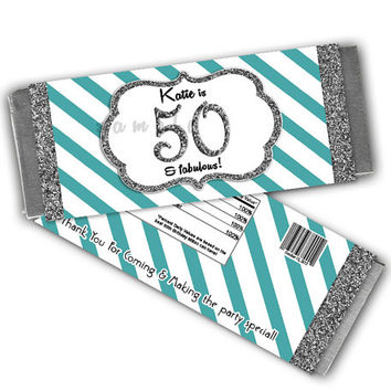 Robins Egg Blue Birthday Party Favor Adult Candy Wrappers - Silver Glitter Personalized Candy Bar Wrapper - Stripe 40th 50th 60th ANY AGE