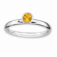 Sterling Silver Stackable Expressions High 4mm Round Citrine Ring: RingSize: 6