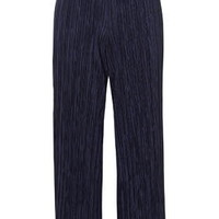 Pleated Awkward Length Trousers - Navy Blue