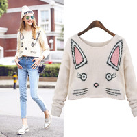 Little Cat Crop Top Knitted Sweater Pullover
