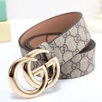DCCK8 GUCCI Stylish Letter Print GG Metal Smooth Buckle Leather Belt Khaki(4-Color) I