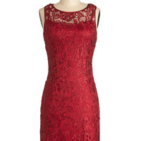 ModCloth Mid-length Sleeveless Sheath A Sweet Aperitif Dress in Cherry