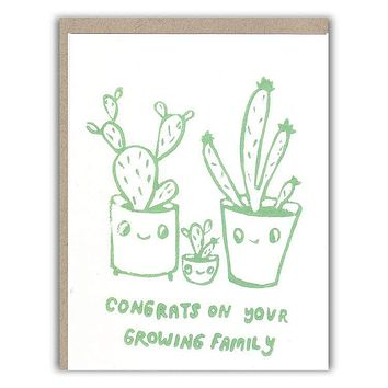 Cactus Family Baby Card