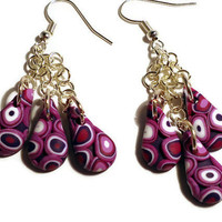 Retro pink and purple polymer clay earrings