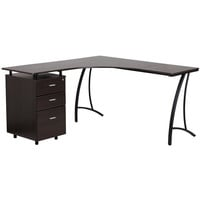 Walnut Laminate L-Shape Desk with Three Drawer Pedestal