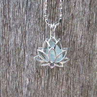 Pale Aqua Sea Glass Lotus Flower Locket by Wave of LIfe