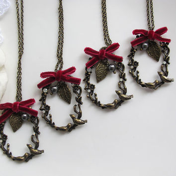 Nature Vintage Mori Forest Wonderland Couple Birds Maroon Red Ribbon Autumn Fall Country Wedding Bridal Wedding Bridesmaids Jewelry Necklace