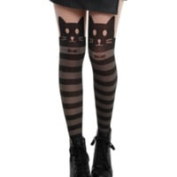LOVEsick Kitty Stripe Faux Thigh High Tights