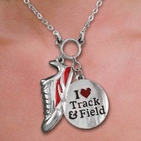 """""""I LOVE Track & Field & Sneaker"""" Charm Necklace - Track and Field Jewelry Bling"""