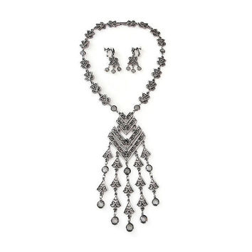 Goldette Style, Necklace Earrings, Egyptian Revival, Silver Tone, Gray Cystal, Statement Jewelry, Vintage Jewelry