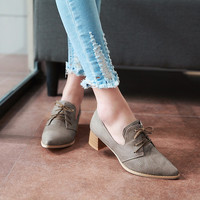 Pointed Toe Lace Up Women Pumps High Heels Big Size Shoes