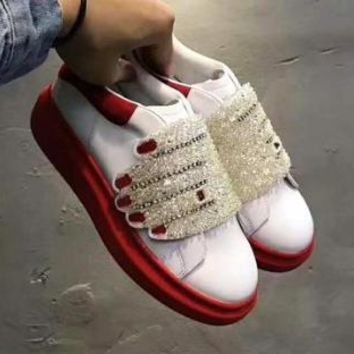 Alexander McQueen LV X SUPREME X ALEXANDER MCQUEEN red and white sports shoes F-DXTY