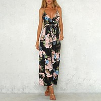 Print V-neck Sleeveless Beach Jumpsuit Romper Boho Strapless Jumpsuits Woman Long Wide Leg Sexy Playsuit