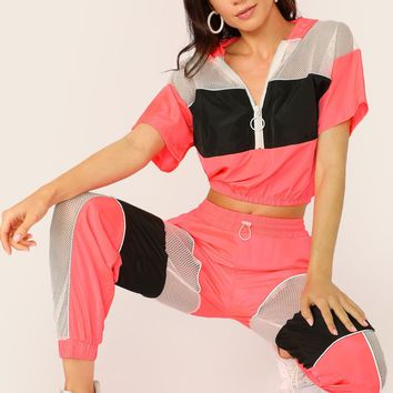 Neon Colorblock Pullover Crop Hoodie And Pants Set
