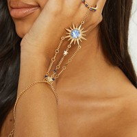 Gold Sun Blue Gem Hand Chain