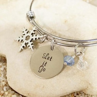 Bangle - Disney- Frozen- Let it go- Hand Stamped - Jewelry - Stainless Steel - Snowflake - Anna - Elsa