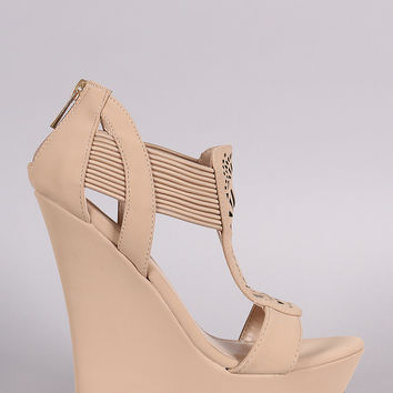 Bamboo Strappy Perforated Platform Wedge