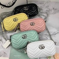 Hipgirls GUCCI GG New Macaron Bright Women's Simple Shoulder Bag Shopping Bag