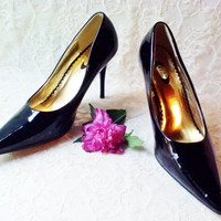 "Shiny Black Patent Leather Stiletto Pumps Vintage High Heel Shoes Size 7 Pointed Toe 4"" heel Formal Dance Evening Opera Halloween Goth"