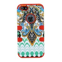 HJX Red iphone 4S/4G Cool 3-Piece Butterfly Tribal Tribe Pattern High Impact Silicone Hybrid Combo Hard Case Cover for iPhone 4 4G 4S