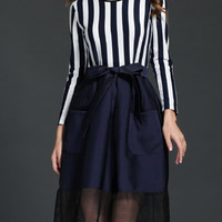 Navy and White Vertical Stripe Bow Dress