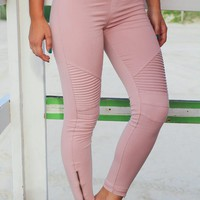 Dusty Pink Moto Jeggings with Ankle Zippers