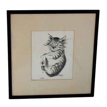 """Antique Happy Cat """"Pootie"""" Drawing by Thelma Frazier Cowan Pottery Artist Signed Framed"""