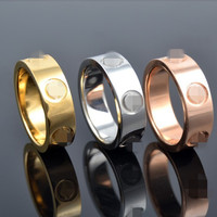 High quality men women wedding jewelry love couple screw rings 18K Gold filled white rose yellow gold USA size 6-14