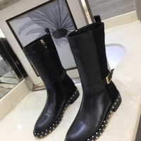 "Valentino New Latest Trending Women Black Brown ""Monogram Empriente"" Leather Zipper Ankle Short Boots Flats High Heels Shoes Winter Autumn"