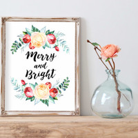 Christmas wall art Holiday print instant download Merry and bright Print Holiday Art Decor Christmas wall decor xmas quote print Poster Art