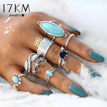 17KM Vintage Big Stone Midi Ring Set For Women Antique Silver Color Heart Flower Knuckle Rings Boho Jewelry Anillos 8 PCS/Set